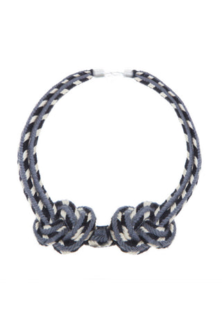 Luxe Knot Statement Necklace by Hilo Sagrado. Hand braided tonal statement choker. Brushed silver lobster claw clasp. Color grey black white. One size.