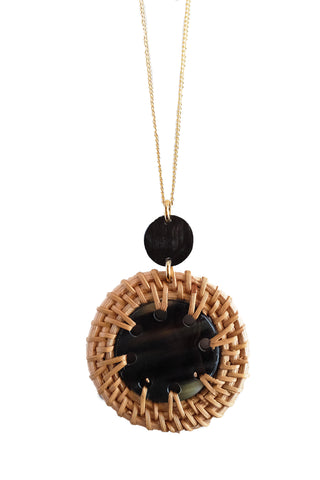 Thuy Binh Dark Horn & Rattan Pendant Necklace