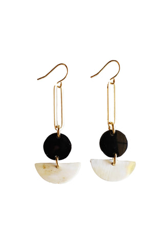 Tho Bar & Geo Dark Horn Dangle Earrings