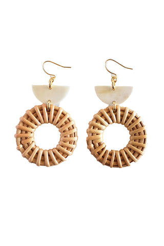 Ninh Binh Horn & Rattan Donut Dangle Earrings