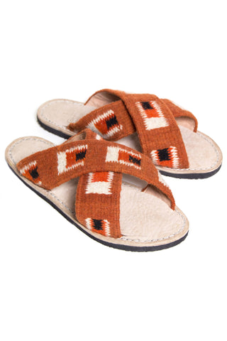 Jing Rust Square Slide Sandal