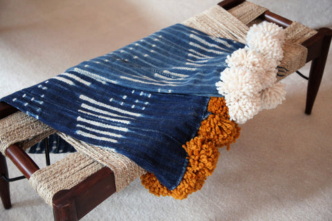 Mudcloth Pom Pom Throw