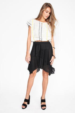 Chanda Black Cascade Skirt