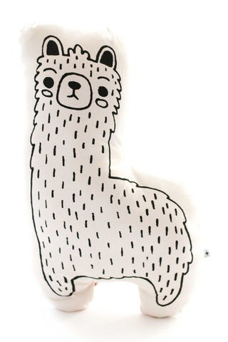 "Llama Pillow by Oeuf. We think it's safe to say you've never met a family of llamas native to Kenya – or one you'd want in your living room, for that matter – until now. Sewn and screen printed by hand on natural canvas by local artisans. Natural canvas. Measurements Papa Llama: 7.5"" x 9.5""  Baby Llama: 11"" x 6.5"""