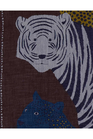 Inouitoosh Fall 2018 Lupita Scarf in Bordeaux. Wool and silk blend woven scarf featuring a feline trio reinterpretation of the wild bestiary. Twill weave with woven border. 75 inches by 28 inches. Color brown burgundy blue yellow. 92% wool, 8% silk. One size.