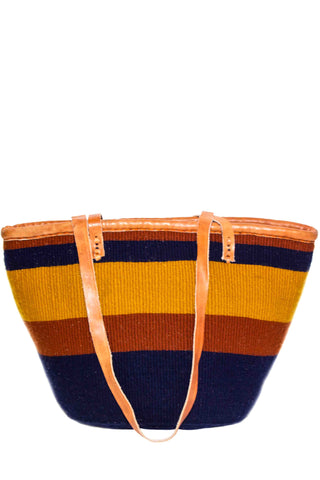 Rustic Stripe Wool Basket Tote