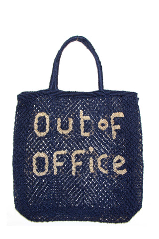 The Jacksons Spring 2018 Out of Office Tote in Navy.  Light, flexible large tote handcrafted from 100% locally-grown jute. Open weave beach tote with thin knotted wrap handle. Open top. Unlined. Hand dyed woven jute. Handmade by the skillful traditional handicraft workers of Southwest Bangladesh. 17 inches by 16 inches. 4 inch gusset. 6 inch handle drop. Color navy natural. 100% jute. One size.
