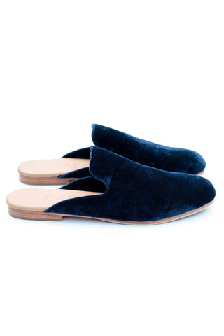 Navy Velvet Street Slipper