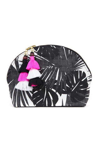 "The Aloha Black and White Tassel Cosmetic Pouch by JADETribe is perfect for summer travels! Palm pattern cotton cosmetic bag with handmade multi tassels, double zipper and nylon lining. Measurements 10"" L x 7"" H x 3"" W"