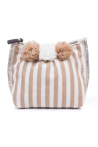 Valerie 3-Pom Makeup Bag in Sand by JadeTribe. Nautical stripe make up bag with 3 handmade pom poms, gold metallic trim and a zip closure. Measurements L8 x H7 x W4 inches A little bit beach-y, a little bit bohemian jet set, and 100 percent natural and ethical.