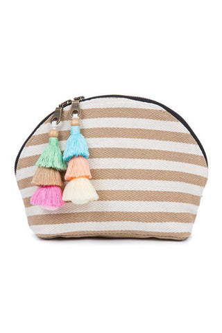 Valerie Double Tassel Cosmetic Pouch in Sand by JadeTribe. Nautical stripe cosmetic bag with handmade multi tassels, double zipper and nylon lining. Perfect for all of your beach accessories. Measurements L10 x H7 x W3 inches