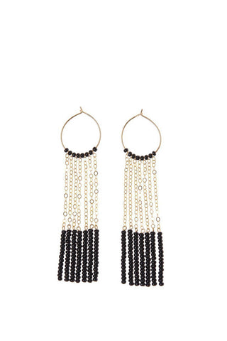 Black & Gold 7 Tassel Hoop Earrings