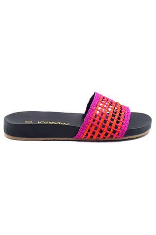 Kaanas Spring 2018 Akumal Pool Slide in Fuchsia. Woven raffia slide sandals in bright blue. Open wicker weave strap. Flat profile. Open toe. Unlined. Made in Colombia. Rubber sole. 0.75 inch platform. Color pink orange black. Handwoven raffia. Leather innersole. Textured rubber outsole. Sizes 6 7 8 9 10.