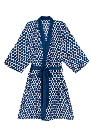 Hand of Fatima Satin Robe by Kapara. Hand printed in India. Each robe purchased allows Kapara to stitch a pair of PJs for one of the boys of the Taabar Street Children Shelter. The uniforms are stitched by The Jagruti Women's Empowerment Center in Jaipur. Color blue white. 100% modal satin.