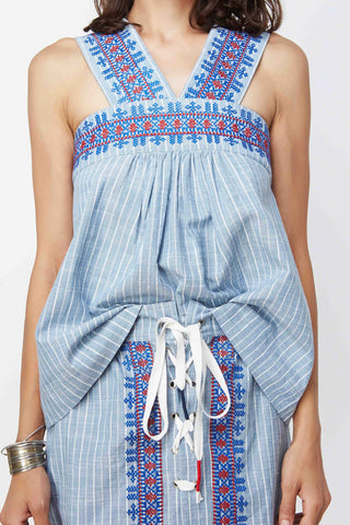 Maru Embroidered Light Blue Stripe Top
