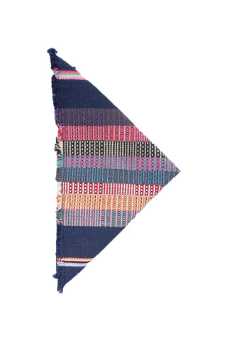 Kus Stripe Napkin Set by Living Threads. Handwoven in Guatemala. Handwoven and naturally dyed cotton napkins, woven by artisans in Guatemala on a traditional Mayan backstrap loom. Your purchase supports sustainable livelihoods and traditional artisan weaving. Color navy. 100% cotton.