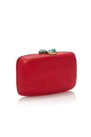 Jen Red Straw Clutch