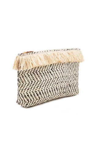 Tia Embroidered Fringe Clutch