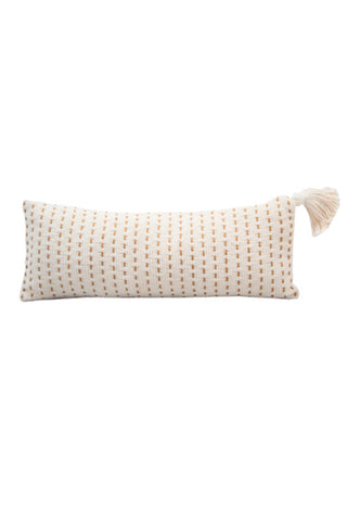 White Handwoven Lumbar Pillow