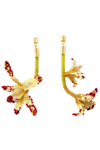 Makua Spring 2018 Cymbidium Earring. These statement earrings highlight flowers and insects - a tribute to the biodiversity of South America. Crystal beadwork with 23k gold plated brass. Measures 4.75 inches. Color lime green. One size.