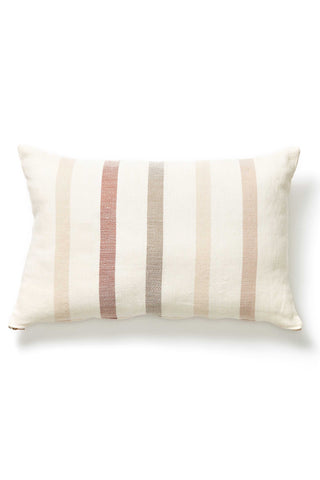 "Handwoven in Chiapas, Mexico The Condesa Stripe Lumbar Pillow is perfect on its own or for mixing with other textures and patterns. This pillow was handwoven by a family run co-op in Chiapas, Mexico. Due to the nature of handcrafted goods, each pillow may differ slightly. Brass zip enclosure. 100% cotton. Insert included. 12"" x 20"""