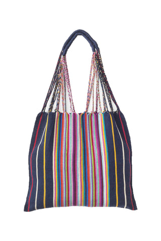 Multi Stripe Hammock Bag by The Global Trunk. Handwoven in Mexico. These little tote bags are perfect for going to the market or the beach! Each Hammock Bag is handwoven on a back-strap loom by artisans in the highland region of Chiapas, Mexico. Color multi. 100% cotton.