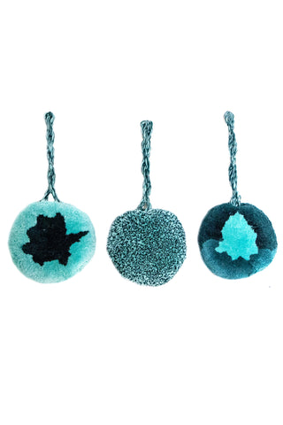 Set of 6 Chajul Blue and Pink Hanging Pom Poms by Meso Goods. Features 3 different designs. Perfect for party decor and gift wrapping! Made in Guatemala Set of 6 Diameter: approx. 2.5""