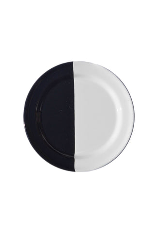 "Hand painted by artisans in Guatemala. Black and white color block tinware dishes by Meso Goods. Measurements Small Plate: Diameter 6"" Large Plate: Diameter 11"" Bowl: Diameter 6.5"" Meso Goods is a Guatemalan-based company dedicated to the design and production of exclusive handmade home decor."