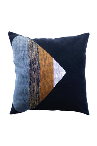 Triangle Backstrap Loom Pillow by Maya Loom. Handmade in Guatemala. Handwoven pillow cover featuring stripe triangle design. Woven on a traditional backstrap loom using recycled denim. Color navy. 100% upcycled denim.