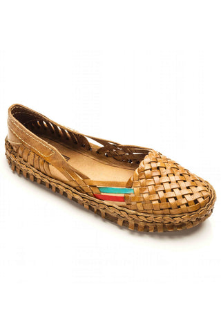 Mohinders Brown Woven Leather Flats