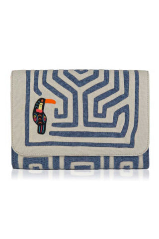 "Mola Sasa Resort 2019 Anamalia Mini Clutch. Handmade woven cotton clutch featuring abstract ""mola"" design in grey and blue. Features embroidered Toucan patch, contrast interior lining, and magnetic button closure. 9 inches by 6 inches. Color blue white orange. 100% cotton. Size small."