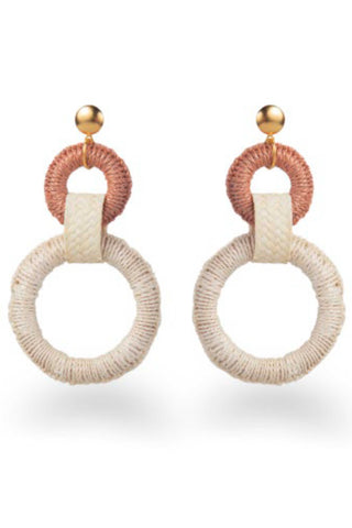 "Mola Sasa Resort 2019 Double Maguey Hoop Earring in Natural. Wrapped oversized tiered hoop statement earrings featuring contrast woven drop and metal post fastening. Post earring. Handmade in Colombia. 4"" drop. 2"" hoop diameter. Color natural pink. 100% woven agave fiber. One size."