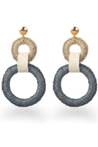 "Mola Sasa Resort 2019 Double Maguey Hoop Earring in Teal. Wrapped oversized tiered hoop statement earrings featuring contrast woven drop and metal post fastening. Post earring. Handmade in Colombia. 4"" drop. 2"" hoop diameter. Color teal sand. 100% woven agave fiber. One size."