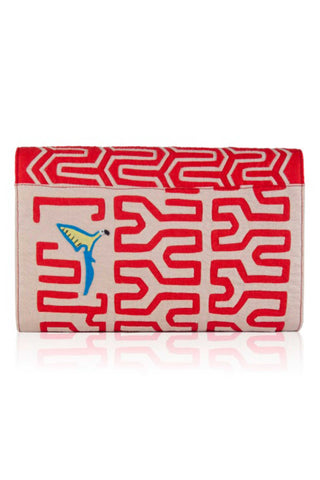 "Mola Sasa Resort 2019 Flying Guacamayas Clutch. Handmade woven cotton clutch featuring abstract ""mola"" design in red and white. Features embroidered bird patch, striped interior lining, and magnetic button closure. 11.5 inches by 7 inches. Color red teal white. 100% cotton. Size large."