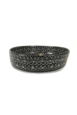 Large Mudcloth Black Bowl
