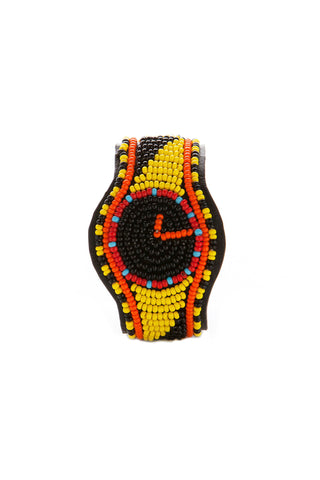 Maasai Black & Yellow Trompe Watch