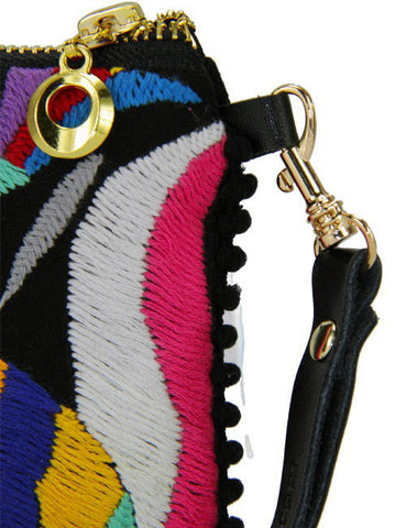 Camila Otomi Embroidered Wristlet