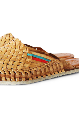 Men's Woven Leather City Slippers