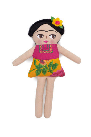 Handmade Frida Doll by Nativa. Handcrafted in Mexico. Hand painted Frida Khalo cotton plush doll. 100% cotton. Spot clean only. Embroidery design and color placement may vary due to the handmade nature of each piece. Color multi. 100% cotton.