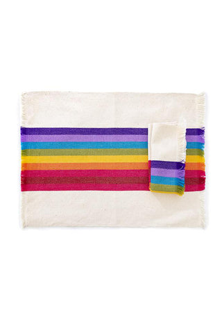 Striped Rainbow Woven Napkin
