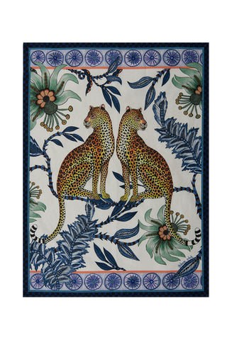 Ardmore Lovebird Leopards Tanzanite Tea Towel