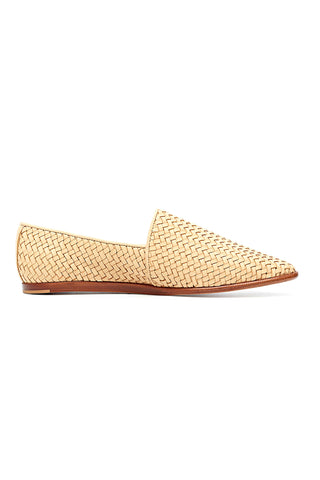 Nisolo Nora Slip on in Beige. The Nora Slip On is an elegant, yet casual take on the classic A-line style. Handmade in León, Mexico, the Nora features a hand-woven upper for a textured and unique look. Handwoven leather upper, leather sole. Color beige. 100% leather. Sizes 6 7 8 9.