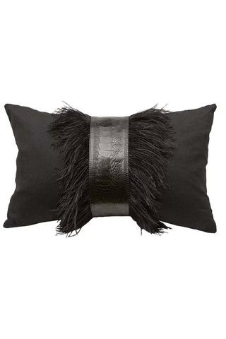 Black Linen with Ostrich Trim Pillow