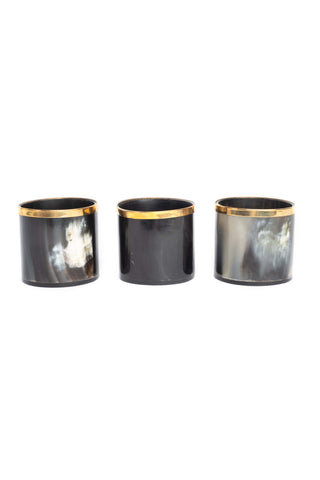 Cow Horn Votive with Gold Trim