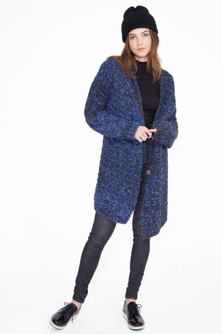 Aiko Midnight Alpaca Cardigan Coat