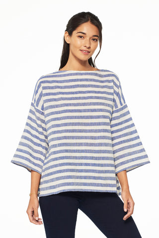 *Exclusive Huipile Blue & White Stripe Top