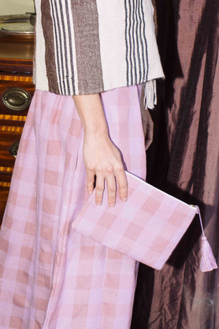 Lilac Check Simple Clutch