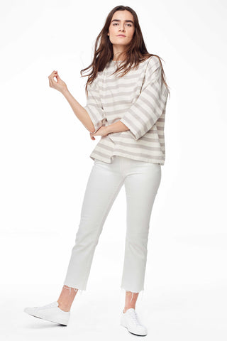 Accompany Exclusive Proud Mary Huipile Top in Grey Natural Stripe. Lightweight loose fitting top. Boxy and loose. 3/4 length sleeves. Round crew neck. Measures 25 inches from shoulder to hem. Color grey and white stripe. 100% cotton. One size fits most.