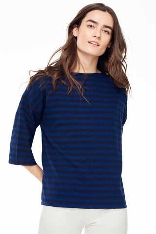 Accompany Exclusive Proud Mary Huipile Top in Navy Black Stripe. Lightweight loose fitting top. Boxy and loose. 3/4 length sleeves. Round crew neck. Measures 25 inches from shoulder to hem. Color navy and black stripe. 100% cotton. One size fits most.