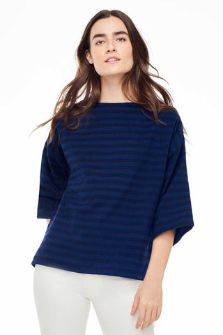 Accompany Exclusive Proud Mary Huipile Top in Navy Black Stripe. Lightweight loose fitting top 3/4 length sleeves Round crew neck tee Navy and black stripe